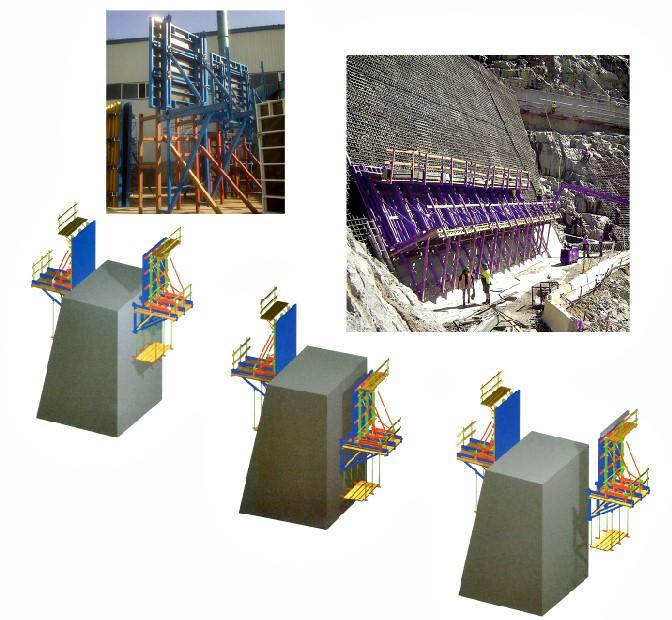 قالب فلزی بتن میلینیوم - قالب سر ریز سدسولجرها از ناودانی 16 ساخته شده و براکت تقریباً 2 برابر براکت های معمول می باشد و در پشت قالب ها از جک های دو بازویی سنگین استفاده می شود .
