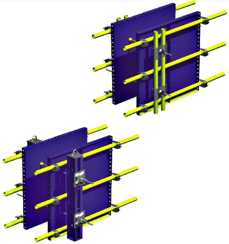 قالب فلزی بتن میلینیوم - انواع پشت بندپشت بند های عمودی در پشت سر پشت بند های افقی بسته می شوند .