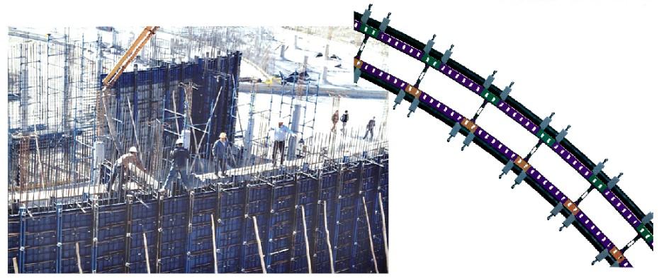 قالب فلزی بتن میلینیوم - قالب مدوربرای اجرای دیواره ای که قطر آن بین 2 متر تا 7/5 متر باشد از قالب مدولار کمانی استفاده می شود .