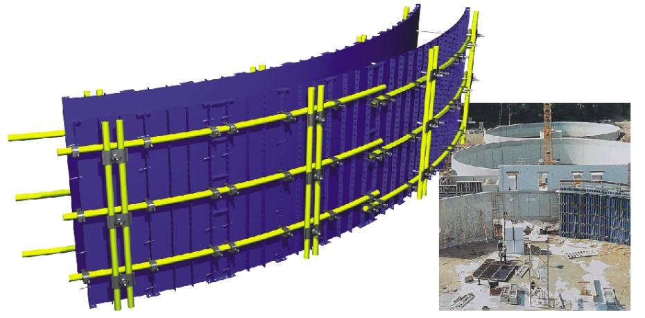 قالب فلزی بتن میلینیوم - قالب مدوردر مورد سازه هایی که قطر آنها کمتر از 2 متر می باشد قالب ستون گرد به صورت دو هلال 180 درجه ...