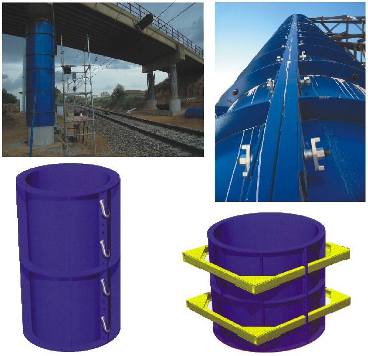 قالب فلزی بتن میلینیوم - قالب مدوردر ستون های با قطر بین 1 متر و 2 متر جهت جلوگیری از اعوجاج قالب ها قید ناودانی در پشت هر هلال جوش داده می شود .