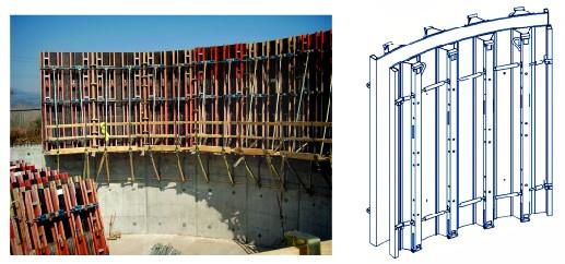 قالب فلزی بتن میلینیوم - قالب های پلای ووداز این نوع قالب ها جهت سازه های مدور با قطر بیش از 3/5 متر که بتن با سطح صاف و صیقلی ، مورد نیاز می باشد ، استفاده می گردد .