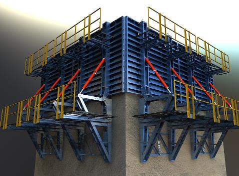 قالب فلزی بتن میلینیوم - قالب با سیستم بالا رونده (براکتی)پس از باز کردن قالب ها و بستن براکت به سوراخ ایجاد شده در مرحله قبلی ، قالب ها به همراه تمامی اجزاء سیستم قالب بندی مدولار به روی براکت منتقل شده ...